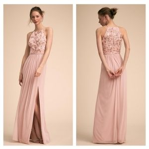 Anthro Carine Embroidered Maxi Dress in Pink BHLDN